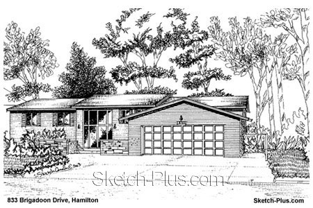 Sketch of house 833 brigadoon drive hamilton